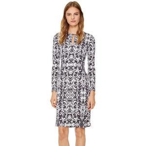 Tory Burch SILK Brushstroke Grey Longsleeve Dress